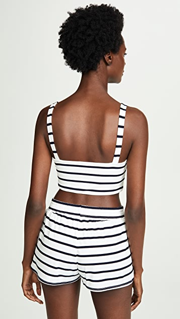 BB Dakota Striped Tie Front Crop Top