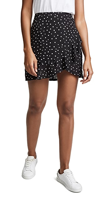BB Dakota JACK Polka Dot Wrap Ruffle Skirt