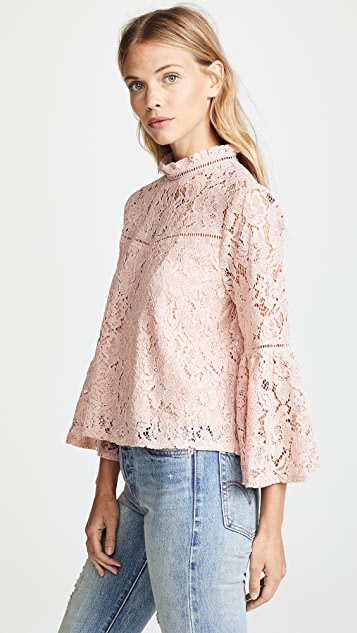 BB Dakota Jack by BB Dakota Floral Lace Bell Sleeve Top