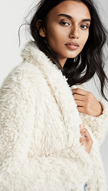 BB Dakota Faux Fur Mix A Lot Teddy Coat