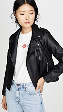 Moto Vegan Leather Finish Jacket