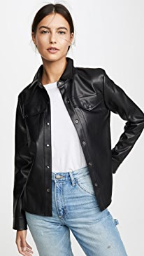Way Out West Vegan Leather Shirt Jacket