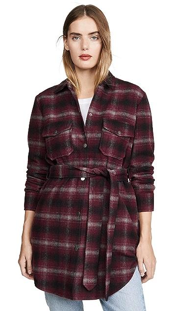 BB Dakota Belted Plaid Coat