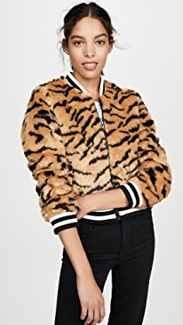 Tiger Beat Faux Fur Bomber