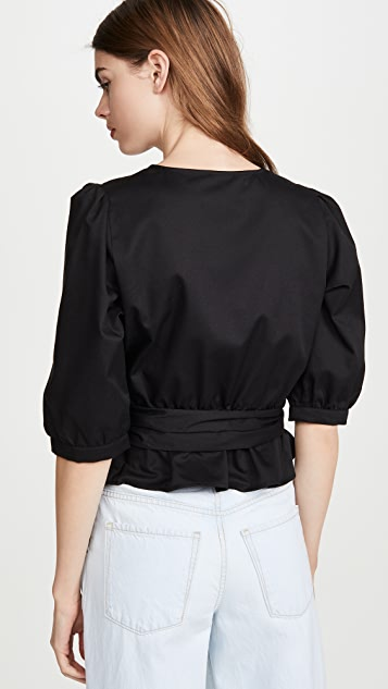 BB Dakota Puff Sleeve Wrap Top