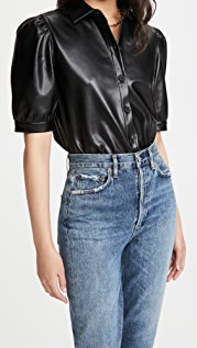 BB Dakota Vegan Leather Puff Sleeve Top
