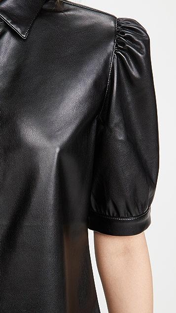 BB Dakota Vegan Leather Puff Sleeve Top