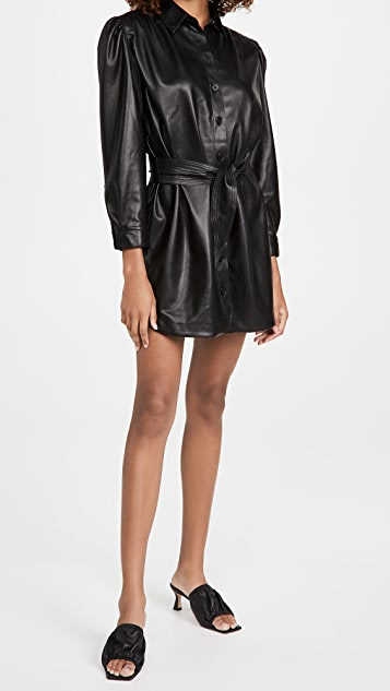 BB Dakota Faux Nelly Belted Vegan Leather Dress