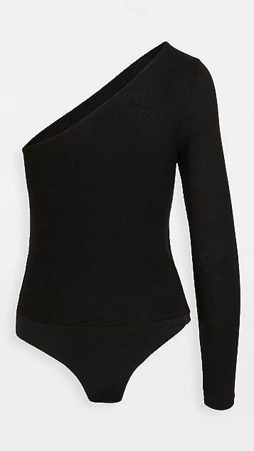 BB Dakota Shoulder & Wiser Rib Knit Thong Bodysuit