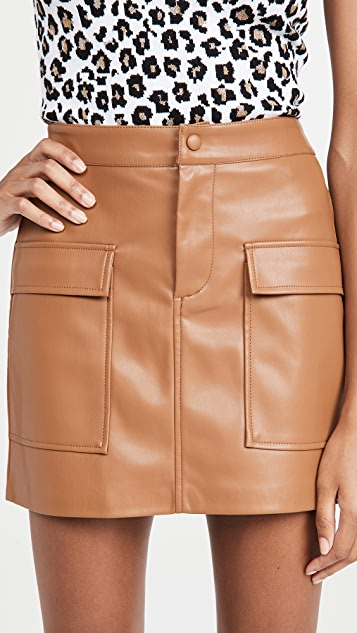 BB Dakota Vegan Leather Too Late Miniskirt