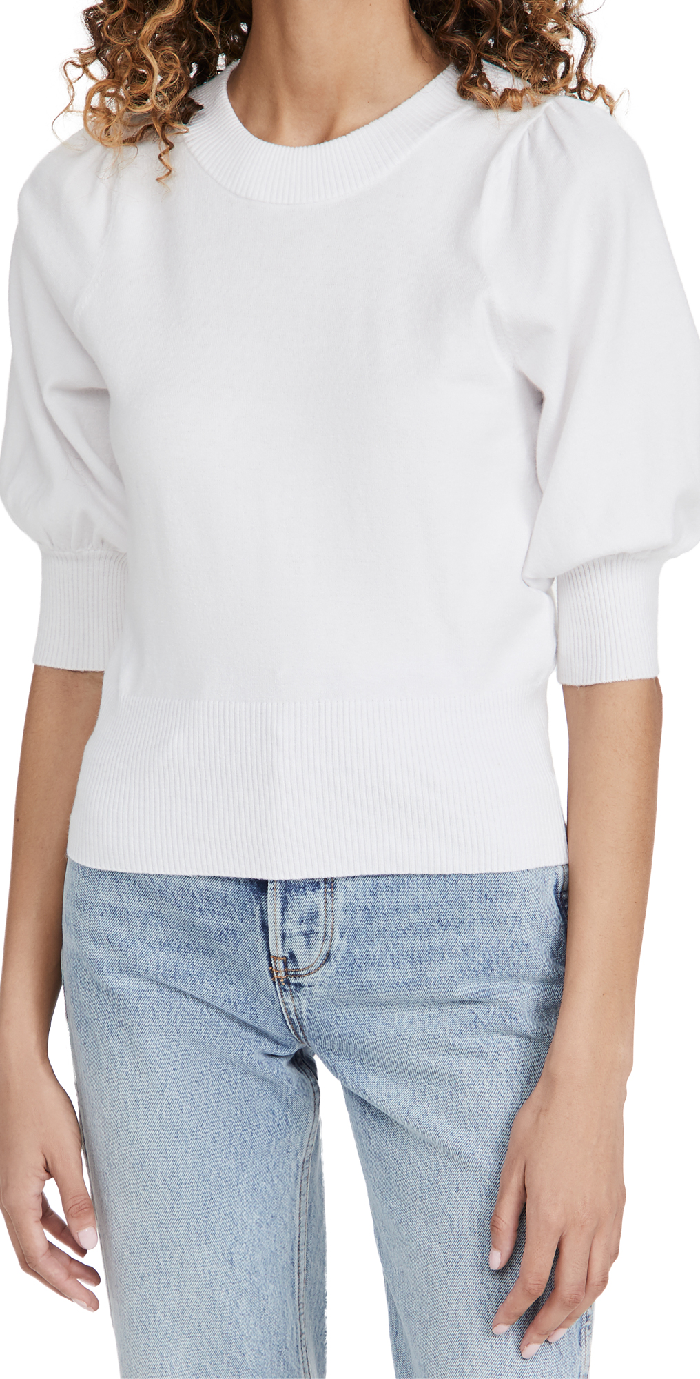 BB Dakota Girl Neck Door Puff Sleeve Sweater