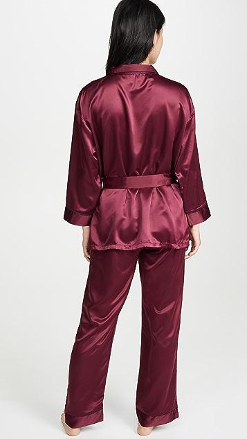风信子紫 Wren 和服和长裤睡衣套装