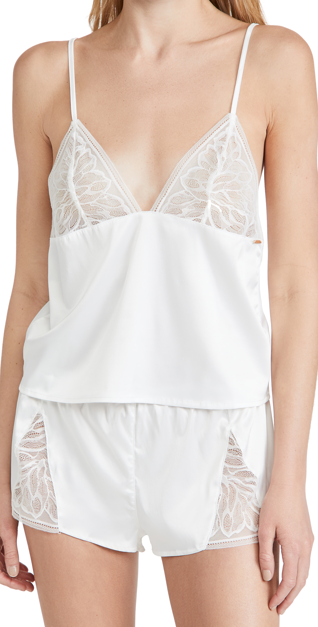 Bluebella Luna Lace And Satin Cami Short Set In White In Ivory