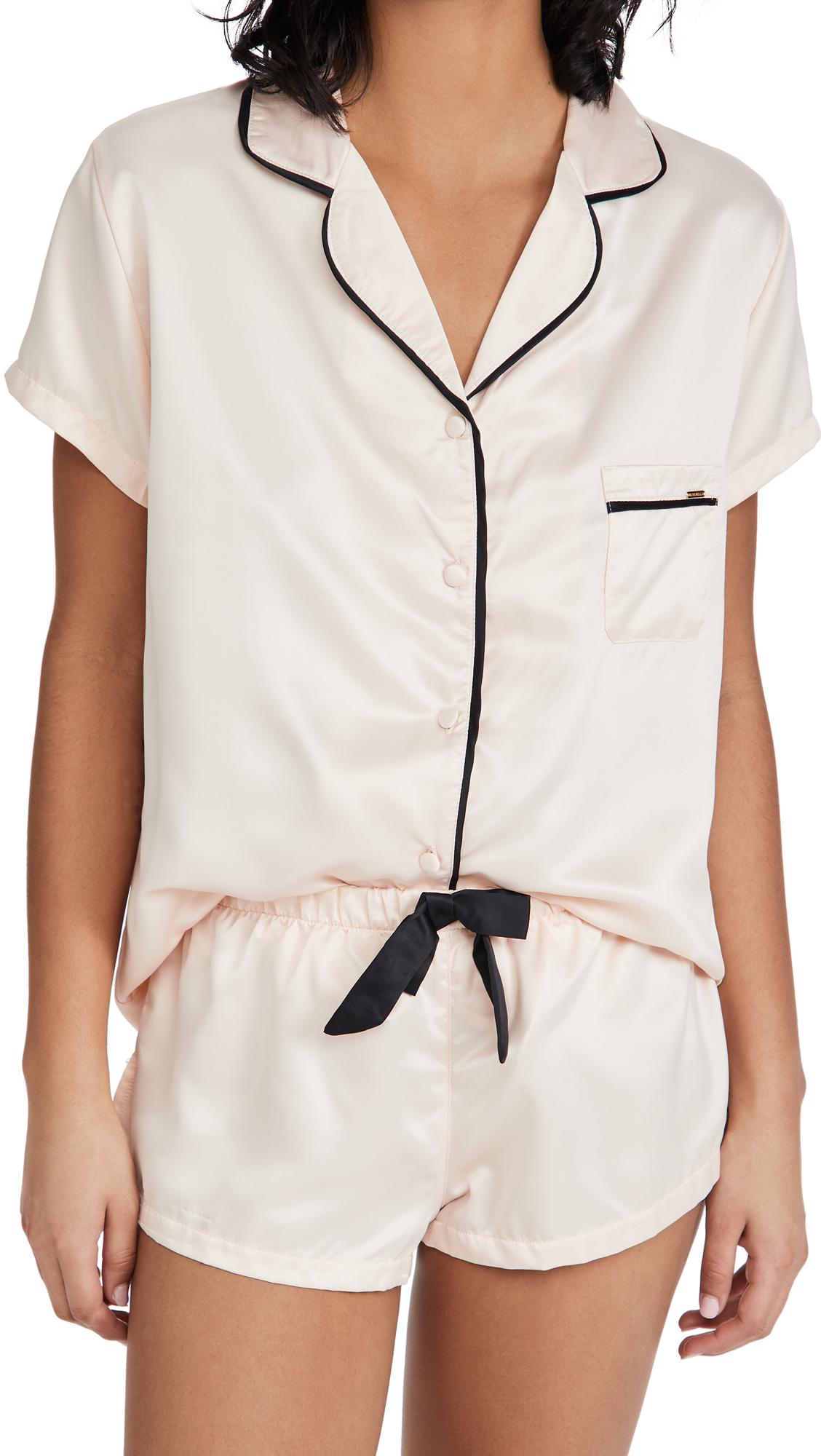 Bluebella Abigail Satin Short Pajama Set-pink In Pale Pink/black