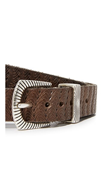B. Belt Thin Double Buckle Embossed Belt