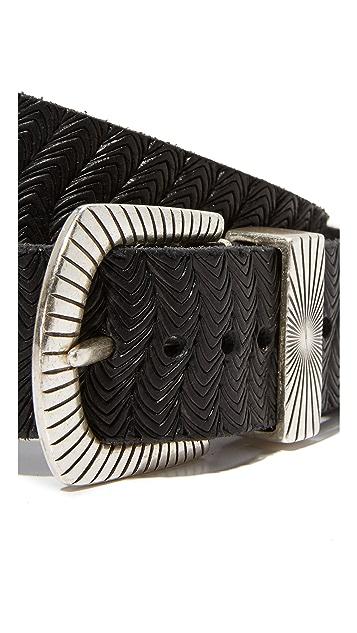 B. Belt Double Buckle Embossed Belt