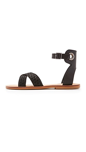 blank canvas Cross Strap Flat Sandals