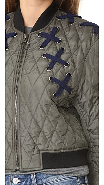 BCBGMAXAZRIA Lace Up Bomber Jacket