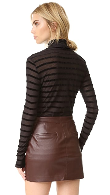 BCBGMAXAZRIA Turtleneck Sweater with Stripes