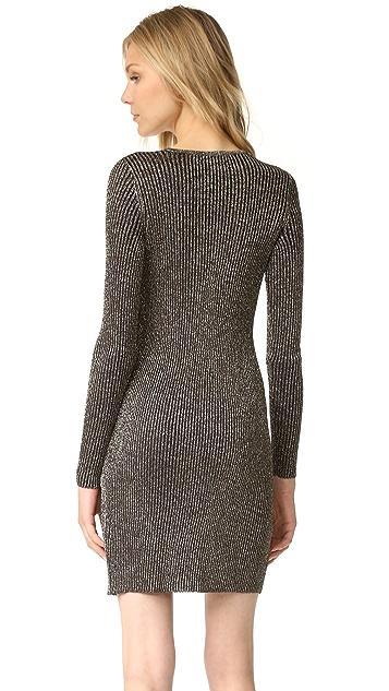 BCBGMAXAZRIA Deep V Lurex Mini Dress