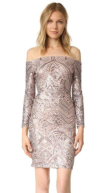 BCBGMAXAZRIA Embellished Off Shoulder Dress