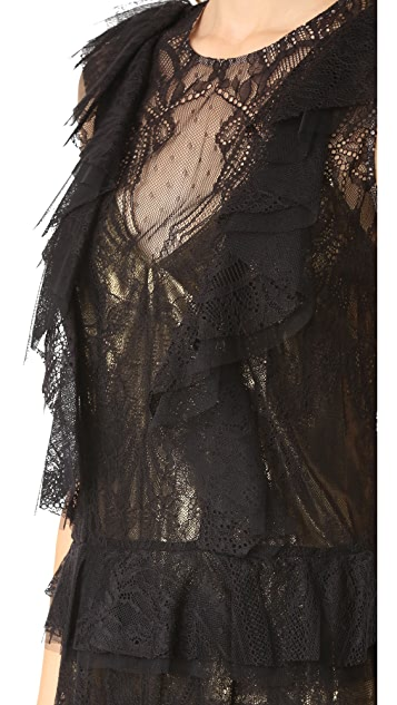 BCBGMAXAZRIA Lace Ruffle Kailin Dress