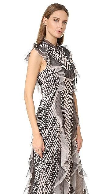 BCBGMAXAZRIA Ruffle Gown