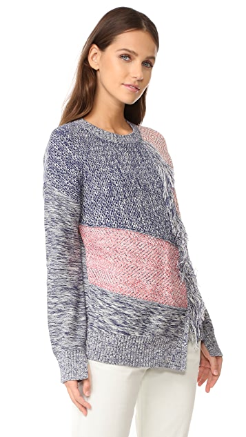 BCBGMAXAZRIA Fringed Patch Sweater