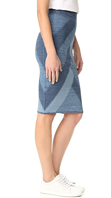 BCBGMAXAZRIA Patchwork Denim Skirt