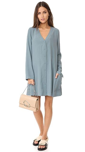 BCBGMAXAZRIA Button Flare Dress