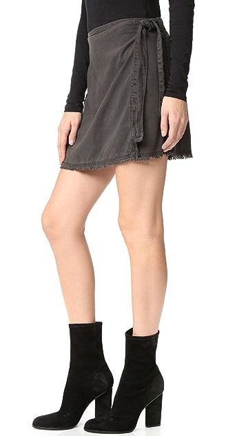 Bella Dahl Frayed Edge Wrap Skirt