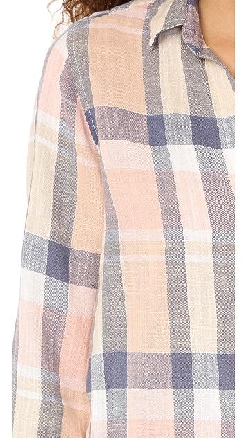 Bella Dahl Frayed Hem Button Down Shirt