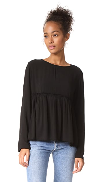 Bella Dahl Ruffle Button Back Top