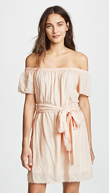 Bella Dahl Belted Off Shoulder Dress - Coral Canyon