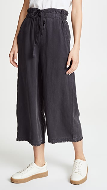 Bella Dahl Frayed Crop Wide Leg Pants - Blue Shadow