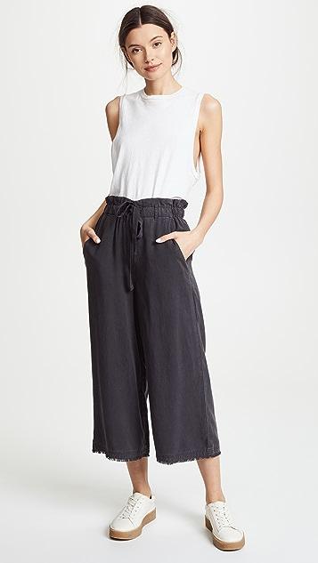 Bella Dahl Frayed Crop Wide Leg Pants