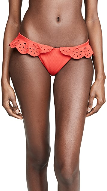 Beach Riot Red Ruffle Chloe Bikini Bottoms