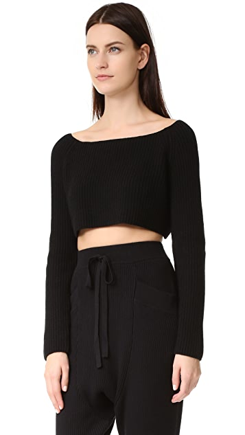 Baja East Long Sleeve Cashmere Crop Top