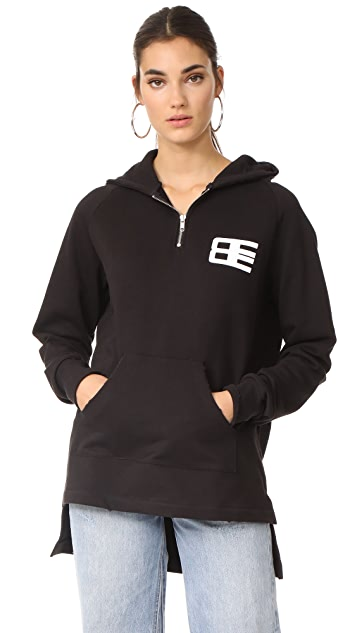 Baja East Graphic Zip Up Hoodie