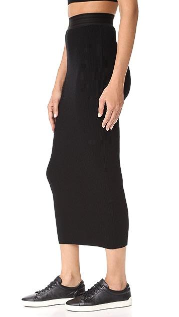 Baja East Ribbed Knit Skirt