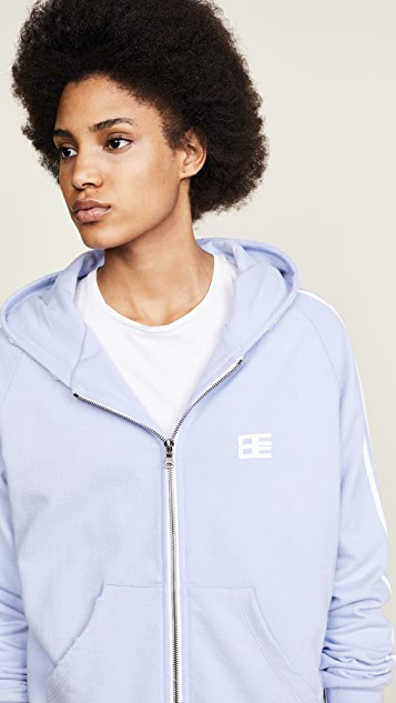 Baja East Be Stripe Zip Hoodie