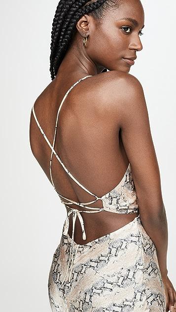 Bec & Bridge 蟒蛇纹中长连衣裙