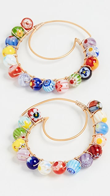 Beck Jewels Millefiori Lune 圈式耳环