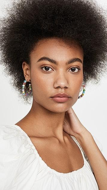Beck Jewels Millefiori Lune Hoop Earrings