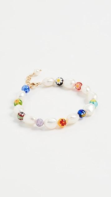 Beck Jewels Millefiori and Pearl Bracelet
