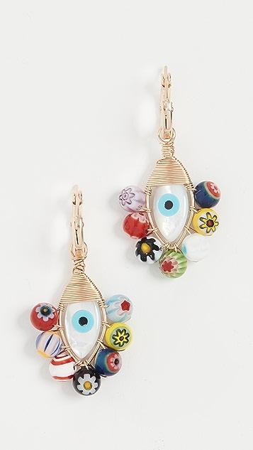 Beck Jewels Millefiori Evil Eye Hoops