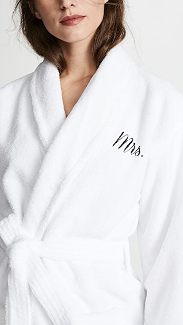 BedHead Pajamas Black Embroidered Mrs. Robe