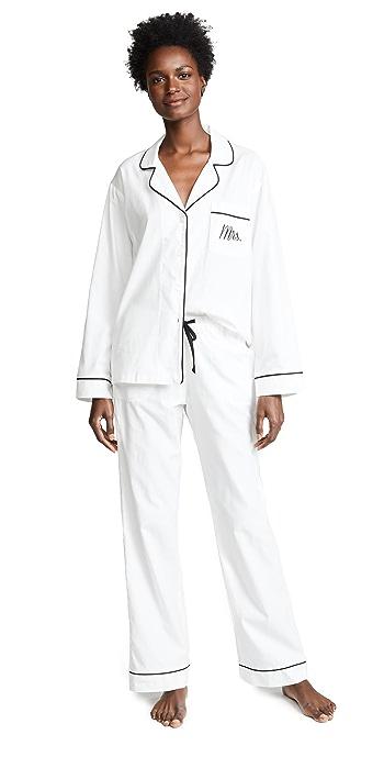 BedHead Pajamas Embroidered Mrs. Classic Pajama Set - White/Black