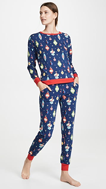 Пижама BedHead Комплект из топа с округлым вырезом и брюк для бега с изображением Снупи и узором