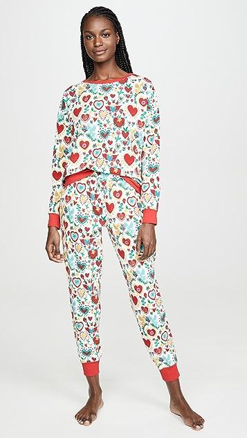 BedHead Pajamas Sacred Hearts Pullover Crew & Joggers Set